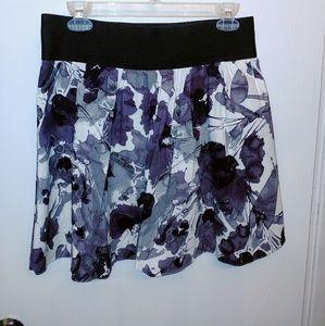 Express purple & white floral skater a-line skirt